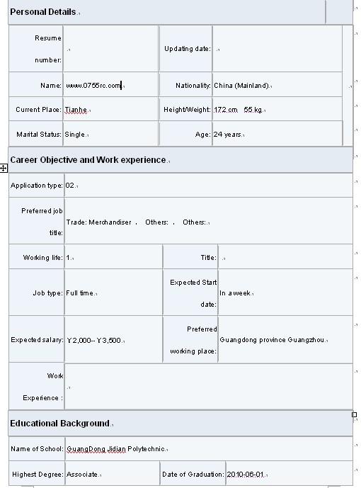 英文简历模板