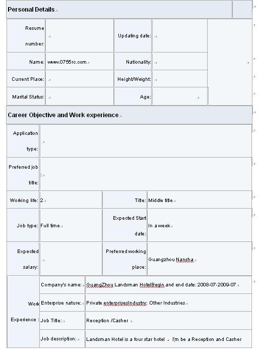 2011物流管理英文简历表格图片