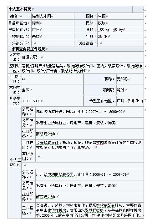 室内软装设计师简历表格模板下载