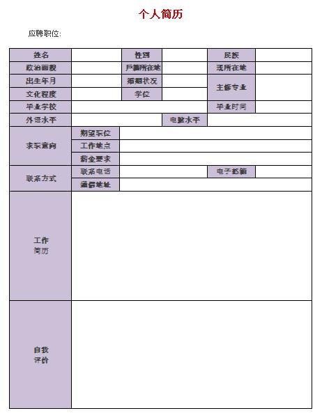 寿险顾问个人简历表格-个人简历表格-深圳人才网0755图片