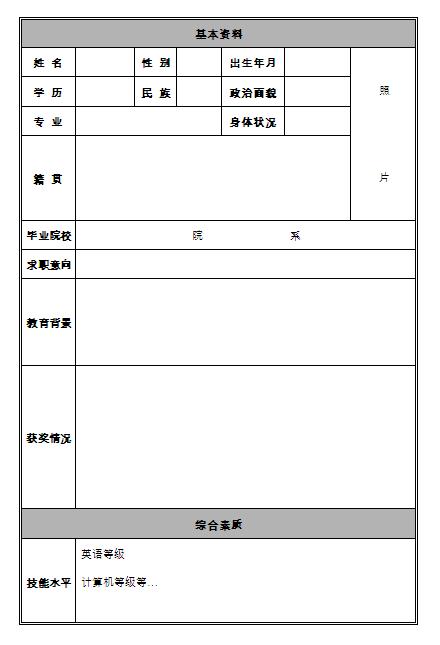工程设计师个人简历表格