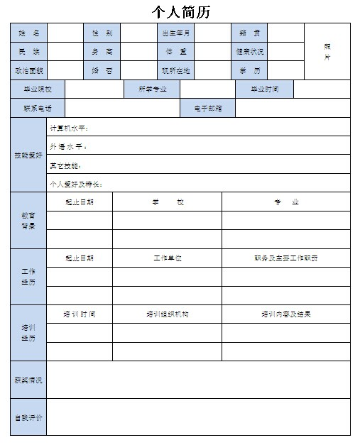 市场助理个人简历表格-个人简历表格-深圳人才网0755图片