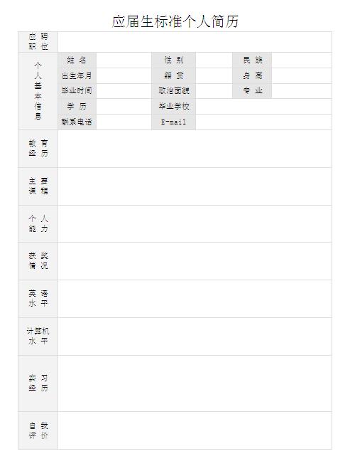 2015应届生标准个人简历表格图片