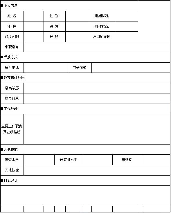 計算機應用設計專業個人簡歷表格圖片