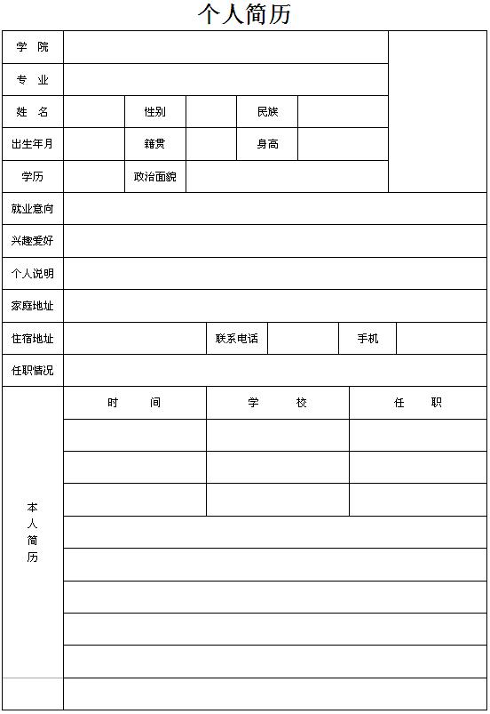 请点击这里下载专科生空白个人求职简历表格图片