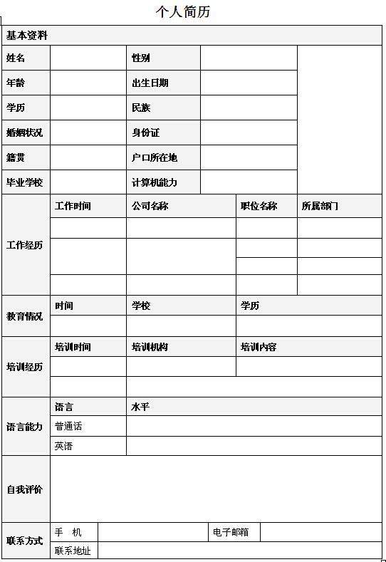 新闻主播个人求职简历表格-个人简历表格-深圳人才网图片