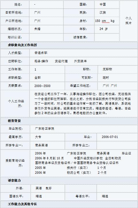 商务英语专业求职简历表格模板