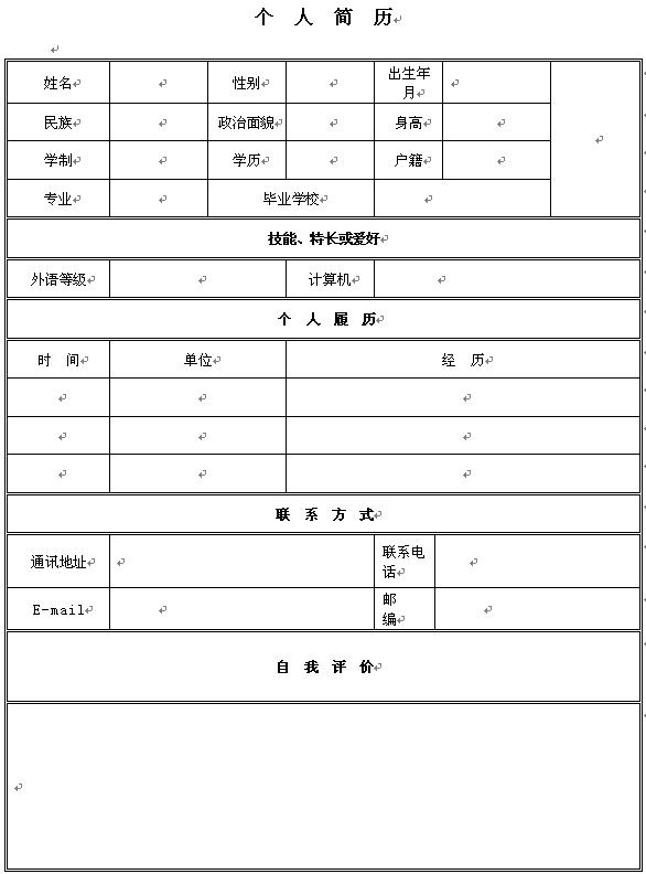 2014年运营员个人求职简历表格图片