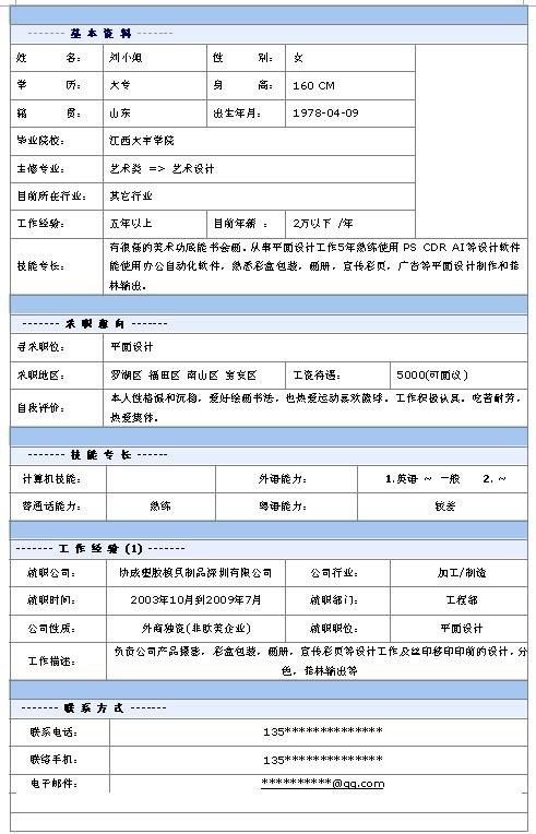 平面设计个人求职简历表格