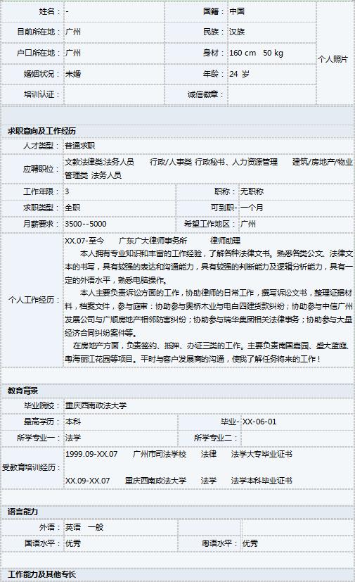法学专业表格格式简历图片