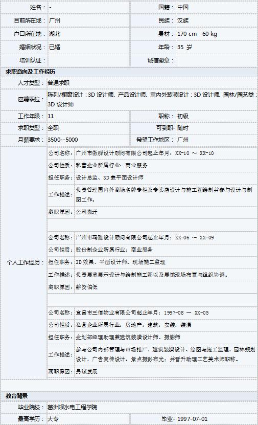3d兼平面设计师简历表格模板-个人简历表格-深圳人才