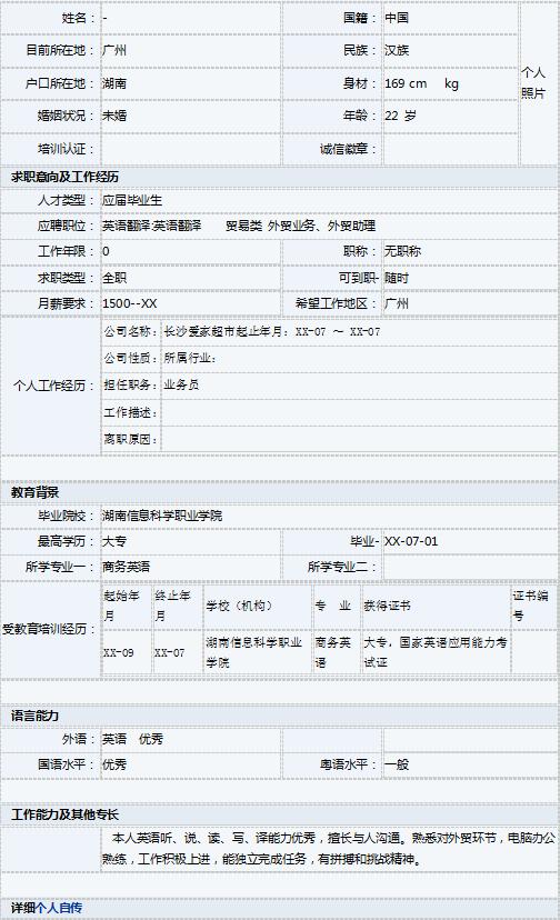 商务英语专业大学生个人简历表格