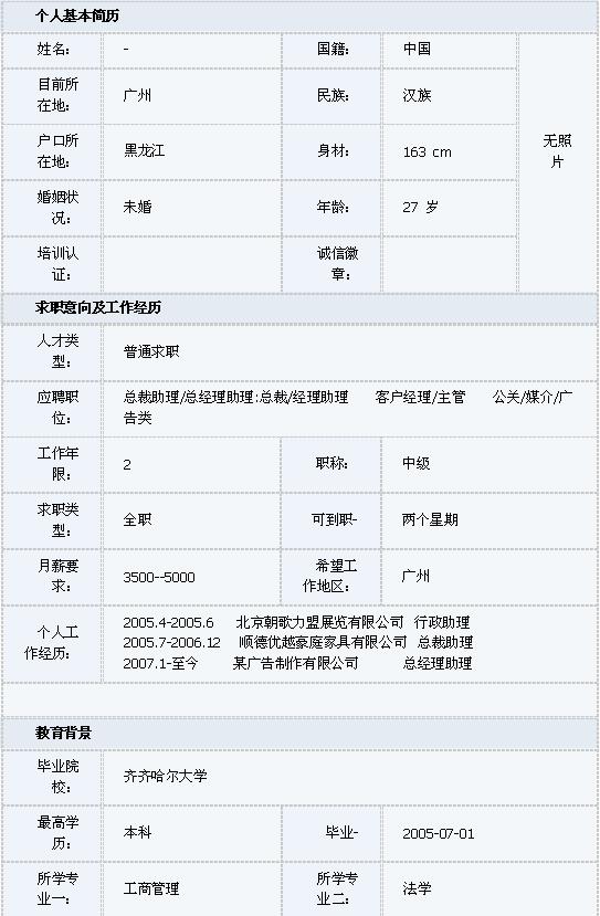 工商管理简历表格模板图片