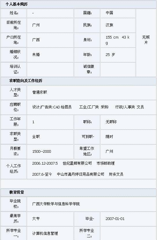 計算機信息管理專業的簡歷表格模板圖片