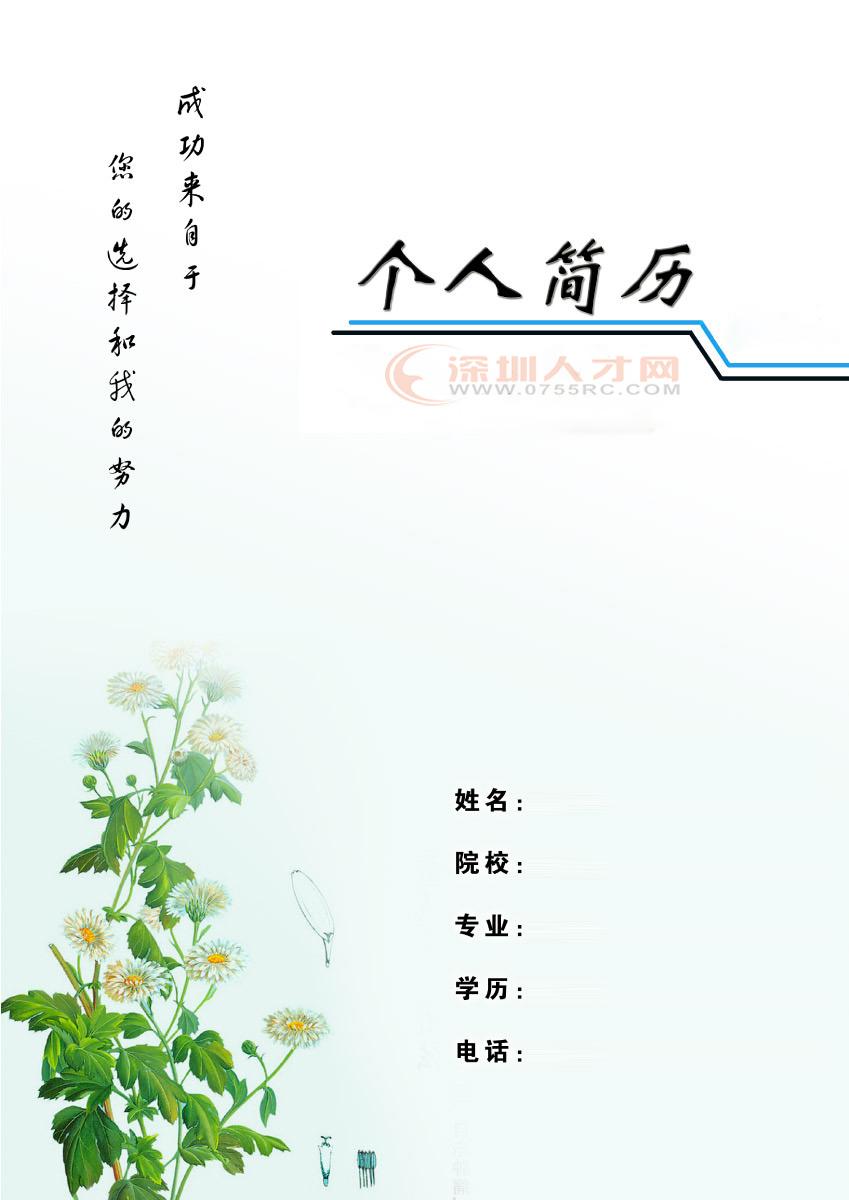 a4纸尺寸简历封面_急求个人简历的封面图-