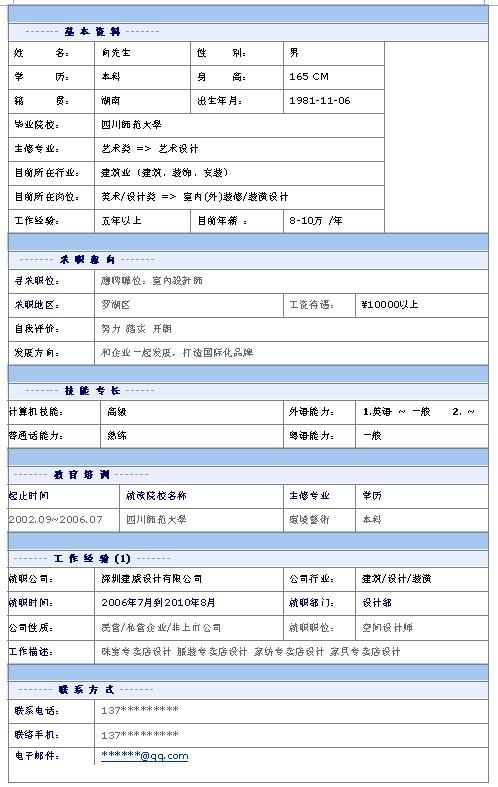 室内设计师个人简历模板; 个人简历 中文简历模板 正文; 室内设计师