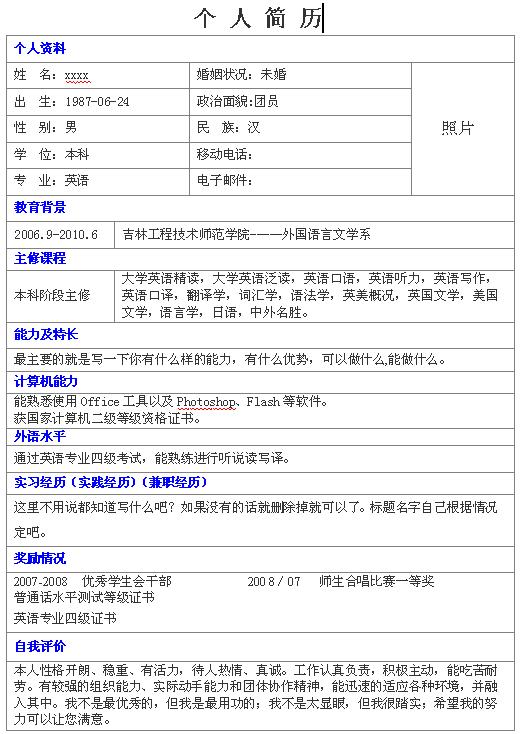 英语老师个人求职简历模板-中文简历模板-深圳图片