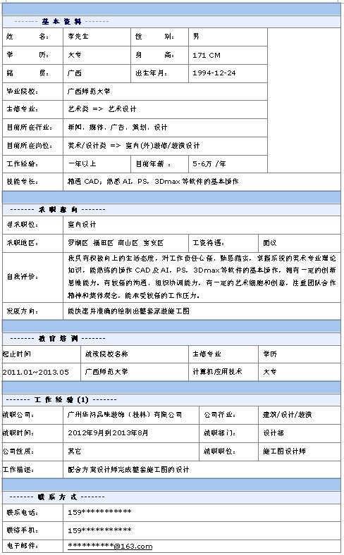 室內設計師個人簡歷模板-中文簡歷模板-深圳人才網