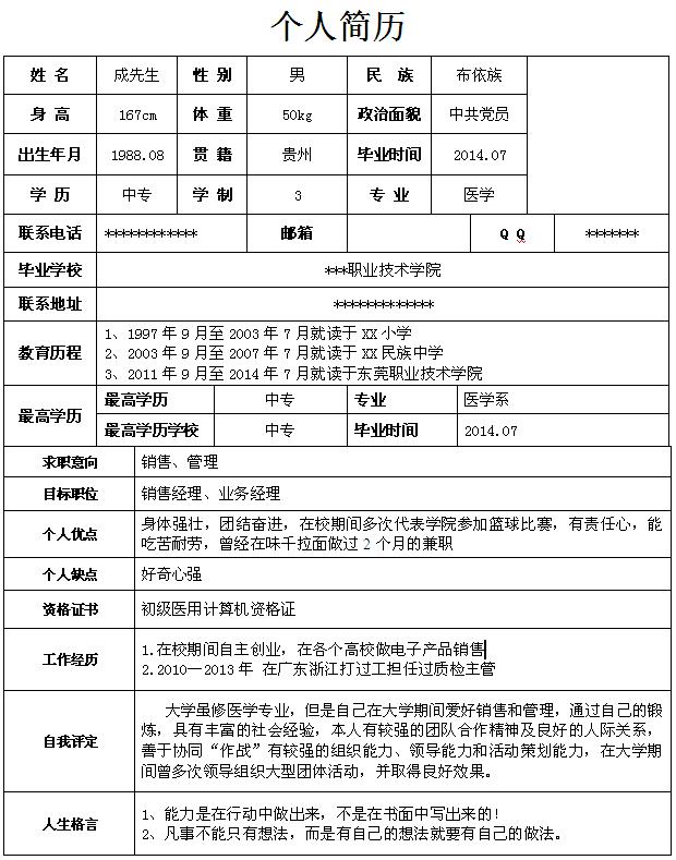 医学专业生个人求职简历模板-中文简历模板-深圳人才