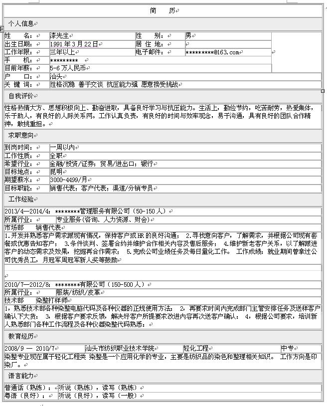 销售代表个人求职简历模板-中文简历模板-深圳人才网图片