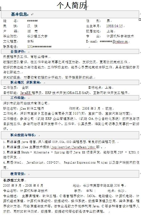 程序员个人求职简历模板-中文简历模板-深圳人才网图片