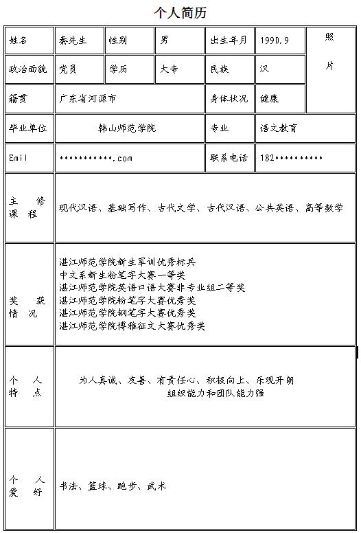 语文教师个人求职简历模板-中文简历模板-深圳人才网图片